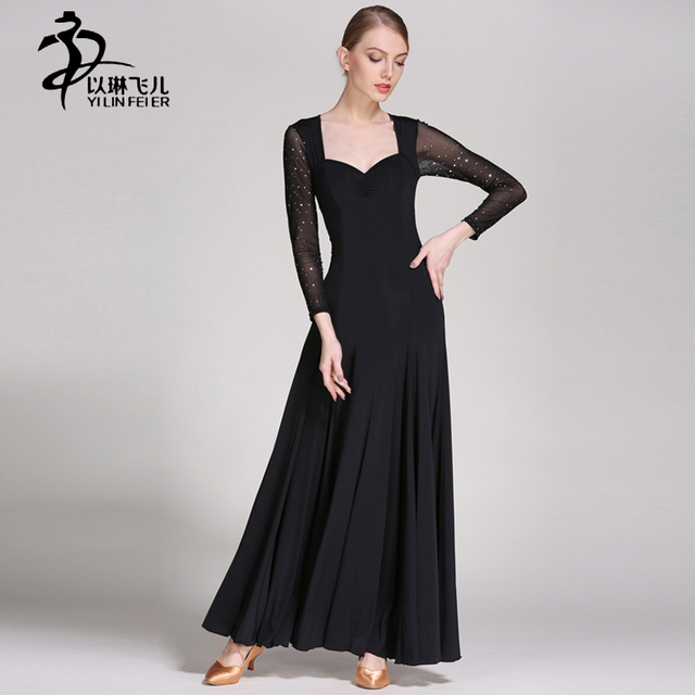 42d7edd2a Modern Waltz Dance Competition Dresses Pure Color Long Sleeve Tango Ballroom  Standard Costume Girls Stage Performance Dance Wear