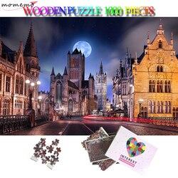 MOMEMO Belgio Notte Jigsaw Puzzle 1000 Pezzi Gigante Puzzle Di Legno 1000 Pezzo di Puzzle Per Adulti 5075 centimetri 2d Puzzle per Adulti adolescenti