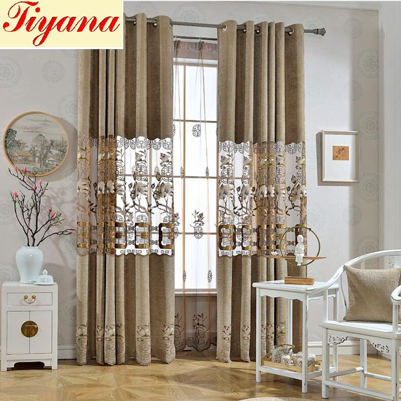 Delicate Embroidered Sheer Lace Curtain Drapes European
