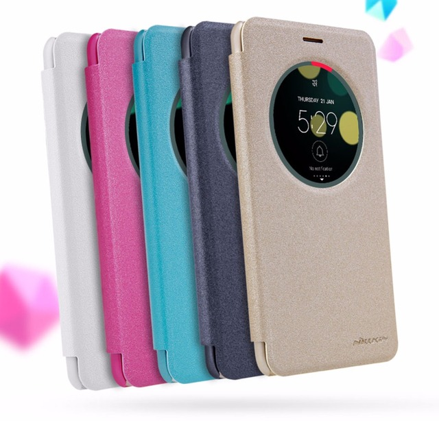 uk availability 9d732 45a36 US $7.91  case for asus zenfone 3 laser 5.5'' NILLKIN sparkle PU leather  flip cover smart wake up window for asus zenfone 3 laser zc551kl-in Flip ...