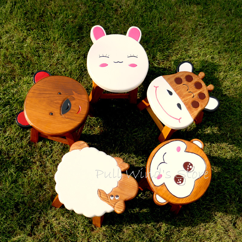 Super cute cartoon animals children's chair Creative pure solid wood children's chair Household Easy to carry small wooden chair 17 styles shoe stool solid wood fabric creative children small chair sofa round stool small wooden bench 30 30 27cm 32 32 27cm