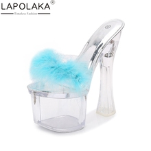 LAPOLAKA 2018 Summer Sexy Super High Heels Party Wedding Women Pumps Transparent Platform Fake Fur Shoes Woman Fashion Mules