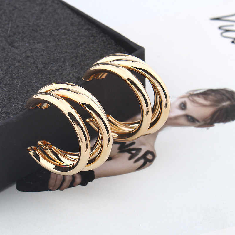 LUSION Brand Metal Elegant Hoop Earring Woman 2019 New Vintage Gold Color Cheap korean Statement Earrings Accessories brincos