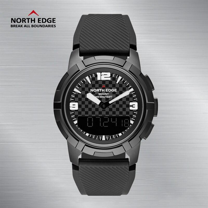 Мужские спортивные кварцевые часы NORTH EDGE, альтиметр, барометр, компас, термометр, мужские часы с двойным дисплеем, цифровые наручные часы для... - 4