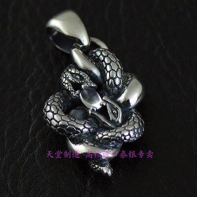 925 Стерлинговое Серебро драгоценности старинные Двойные Змеи тайские серебряные подвески
