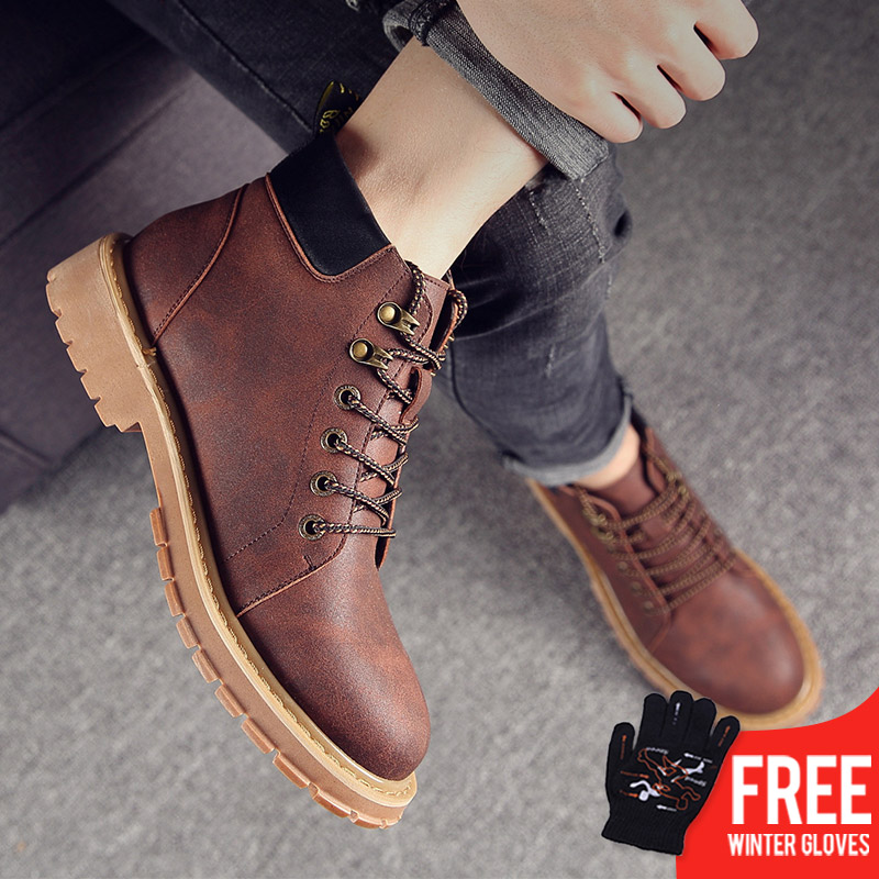 OSCO Super Warm Men's Winter Pu Leather Ankle Boots Men Autumn Waterproof Snow Boots Leisure Fashion Martin Boots Mens Shoes mycolen new men s winter leather ankle boots fashion brand men autumn handmade boots leisure martin autumn boots mens shoes