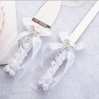 Free Shipping Elegant Wedding Cake Knife Serving Set Personalized Bride Groom Knife Shovel Bridal Shower Party