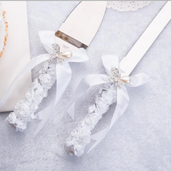 Free Shipping Elegant Wedding Cake Knife Serving Set