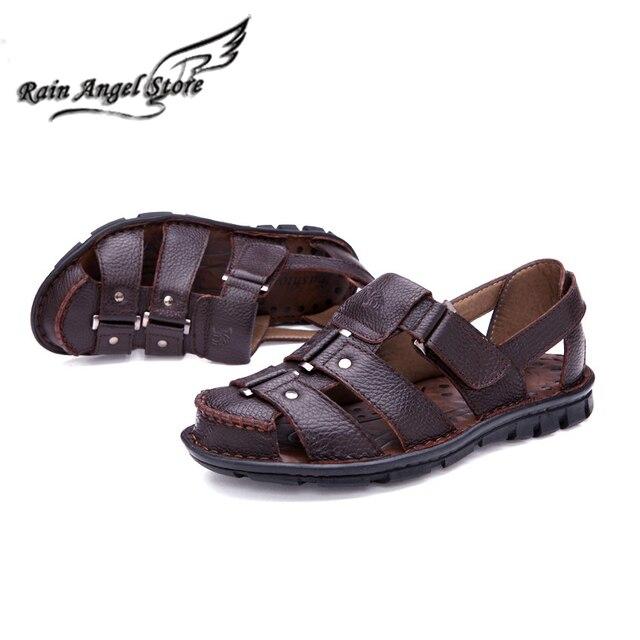 2016 Nuevos Zapatos Masculinos hombres Sandalias Recortes Zapatos Romanos Zapatos de Playa Plana antideslizante de Cuero Transpirable Casuales Puntera verano Cubre