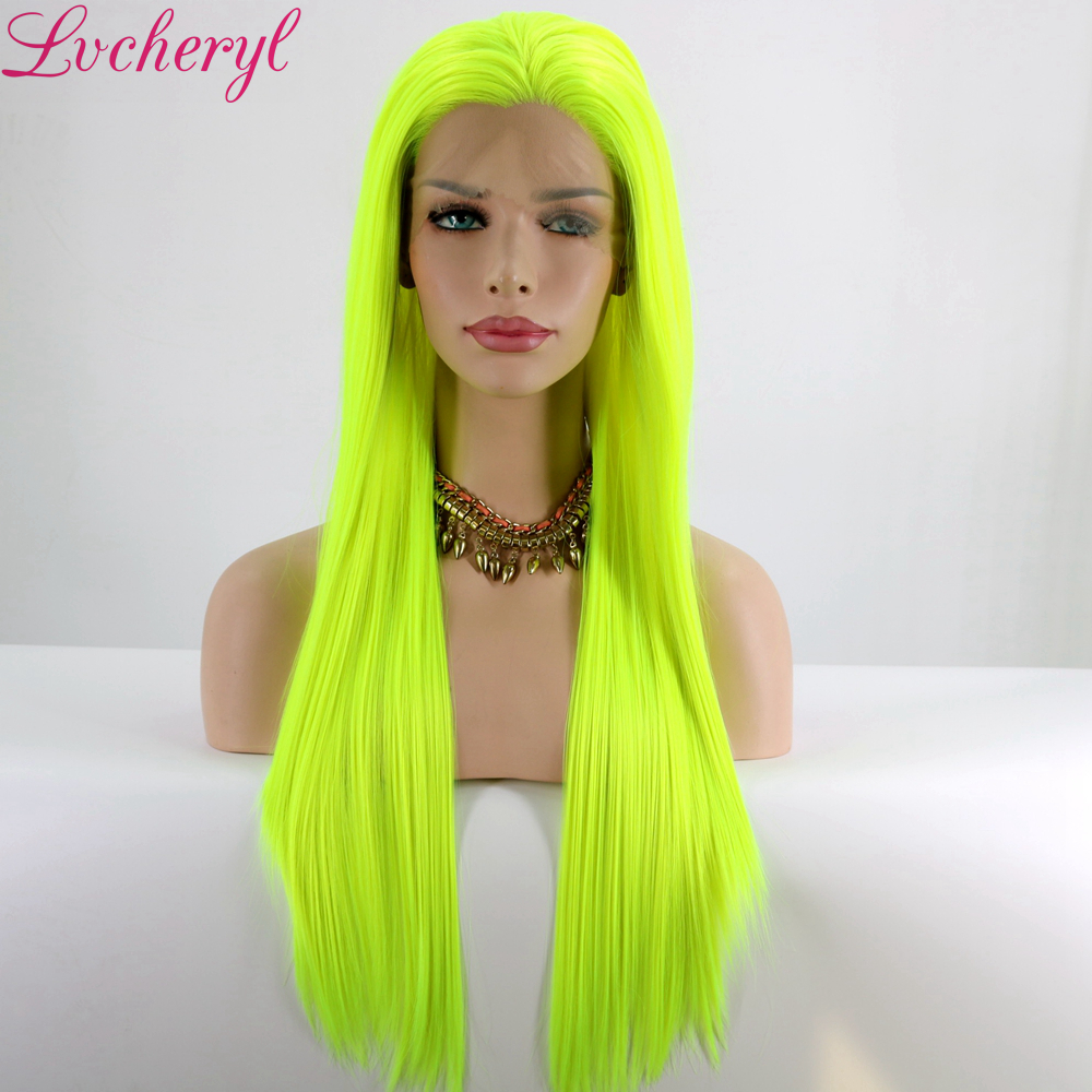 Lvcheryl Natural Long Silky Straight Neon Yellow Color Heat Resistant Synthetic Lace Front Wigs Cosplay Party Makeup Wigs(China)