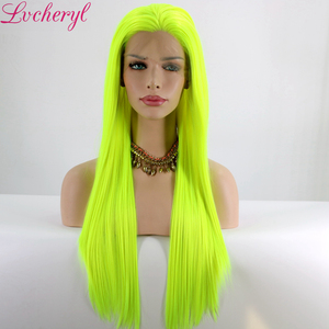 Image 2 - Lvcheryl Natural Long Silky Straight Neon Yellow Color Heat Resistant Synthetic Lace Front Wigs Cosplay Party Makeup Wigs