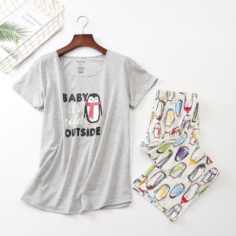 New 2019 Summer Women   Pajamas   Cotton Print Penguin   Pajama     Set   Top + Capris Elastic Waist Plus Size 3XL Lounge pijamas S92903