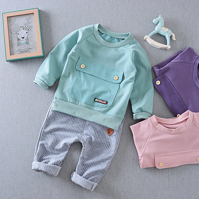 2017 Spring Autumn new boys girls set 0-4 years big pocket long sleeve t-shirt +stripe pants baby sports suit kids casual set