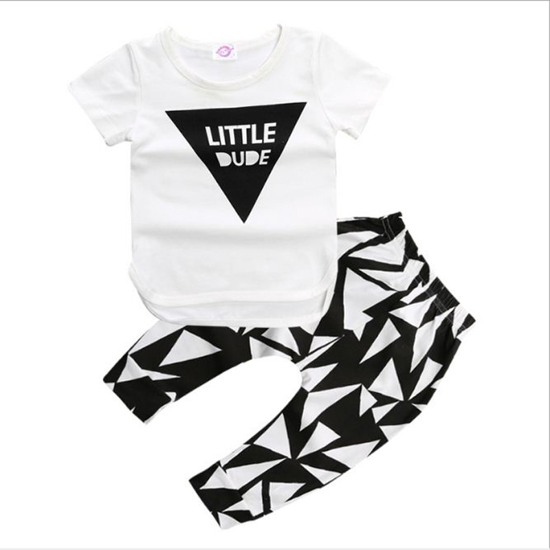 Baby Boys Clothes Set baby girl summer outfit cotton white T shirt tops letter print+pants 2 pcs set newbron girl clothing suit
