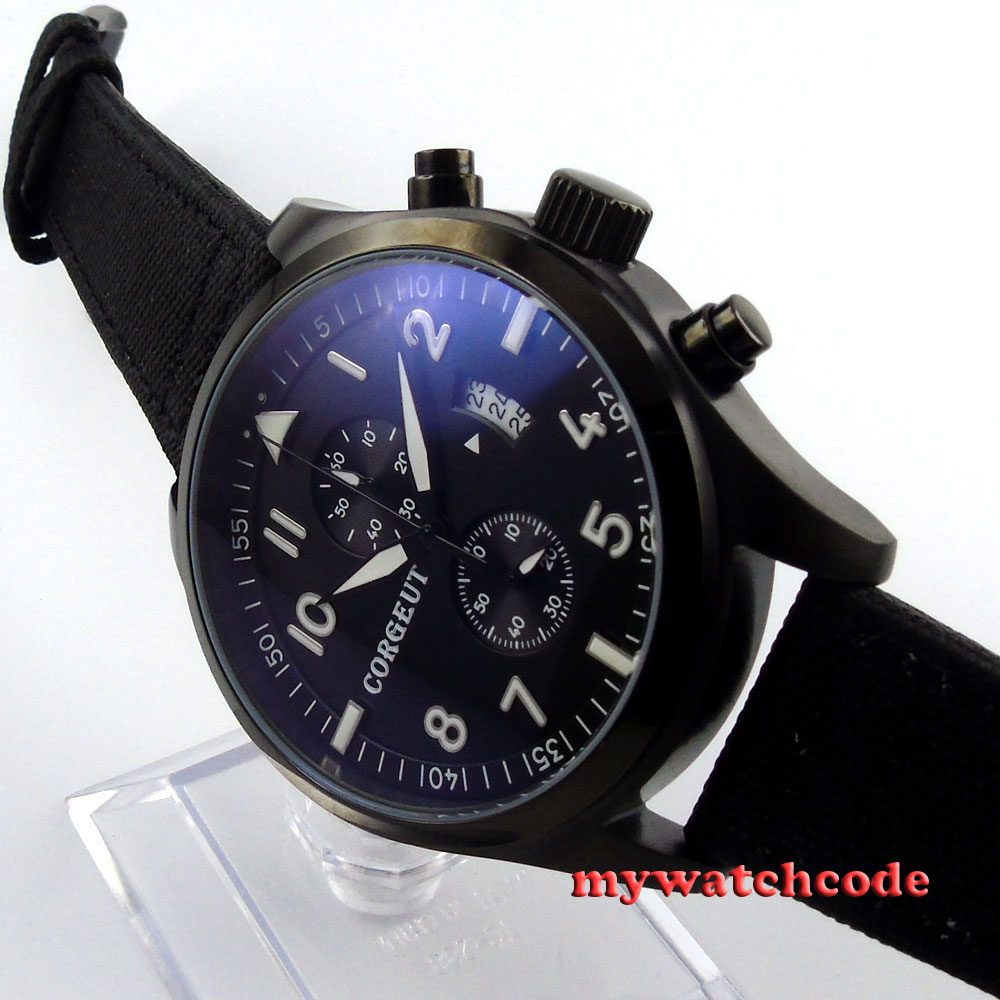 46mm corgeut black dial PVD tripe day quartz chronograph mens watch C29 46mm corgeut gray dial pvd case tripe day quartz chronograph mens watch c30
