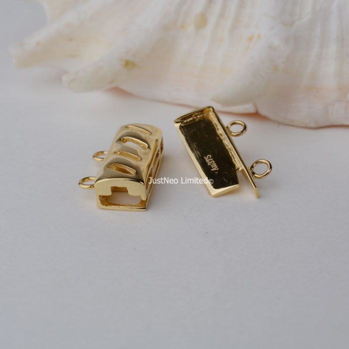 Solid 9k Karat Yellow Gold Box Clasp Double Strand Au375 9ct Oro Buckle for Necklace Jewelry Findings and Components