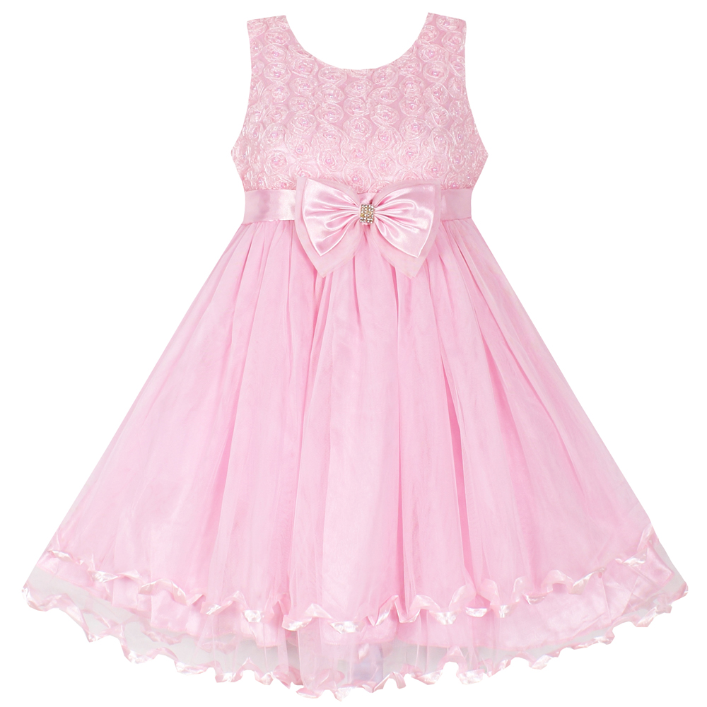 Shybobbi Summer Girls Dress  Pink Floral Wedding Bridesmaid Child Cloths Kids Tutu Princess Dress Size 2-10