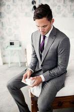 New Custom Made Light Gray Men's 3 Piece Weddig Tuxedos Notch Lapel Groom Best Man Suits