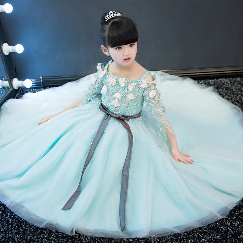 Elegant Girls Long Dress Shoulderless Lace Up First Communion Dresses Princess Girl Beading Floral Appliques Ball Gowns JF387Elegant Girls Long Dress Shoulderless Lace Up First Communion Dresses Princess Girl Beading Floral Appliques Ball Gowns JF387