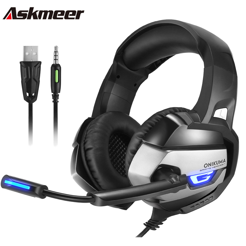 Askmeer PS4 Stereo Gaming Headset with Mic Best casque Deep Bass PC Game Headphones LED Lgiht for New Xbox One Laptop Gamer