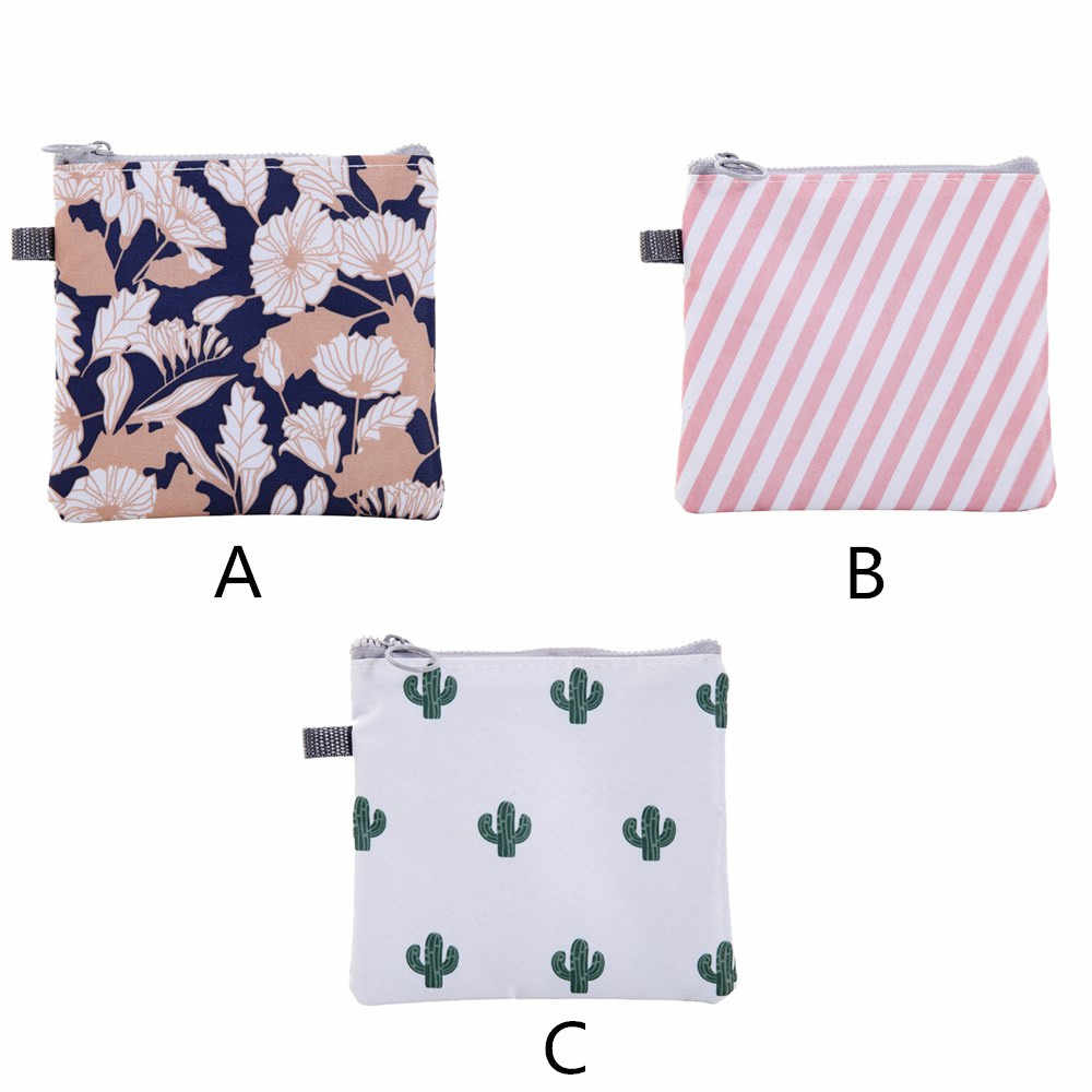 Sanitary Napkin Bag Portable Zipper Women Girl Sanitary Pad Organizer Purse Holder Storage Bags Waterproof Cosmetic Pouch F1024