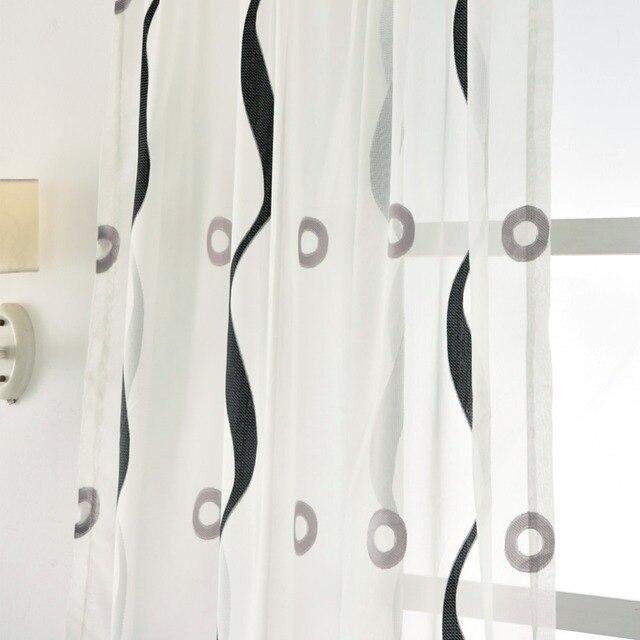 Moderna tenda di trasporto di tulle a strisce cerchio design voile bianco puro pannello nero salotto camera da letto finestra tenda di portello tende brevi