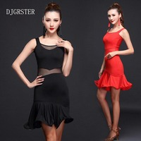 Latin Dance Costume Sexy Milk Silk Sleeveless Latin Dance Dress For Women Perspective Latin Dance Costume
