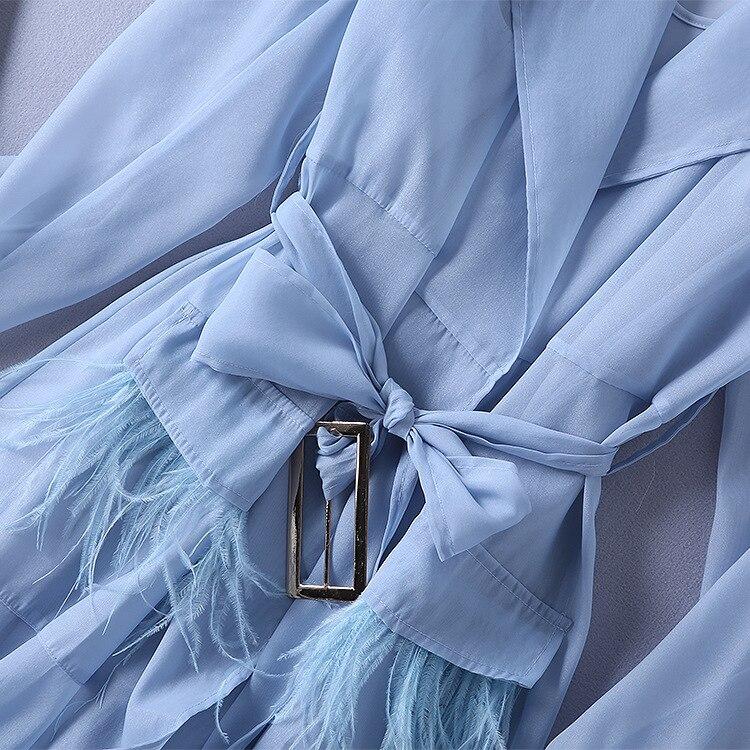 Piste Nouvel Été Femmes Européen Portent Costume Poche Est À Manteau Apporté Tranchée Plume Manches Et De Américain Longues Le Ressemble fqYYw8g0