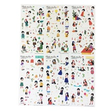 6sheets/pack 16 Styles Can Choose Kawaii Cartoon DIY Diary PVC Stickers Cute Sticky Notes Planner Notebook Office Decoration