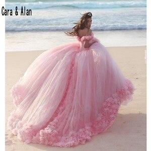 Image 1 - 新しいパフィースカートピンク大人のドレス 3D 花 vestidos デ 15 各公報ブライダルドレスチャペルの列車