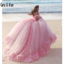 New Puffy Skirt Pink Princess Quinceanera Dresses 3D Flowers vestidos de 15 anos Bridal Gowns Chapel Train