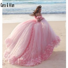 Yeni Kabarık Etek Pembe Prenses Quinceanera Elbiseler 3D Çiçekler vestidos de 15 anos gelinlikler Şapel Tren