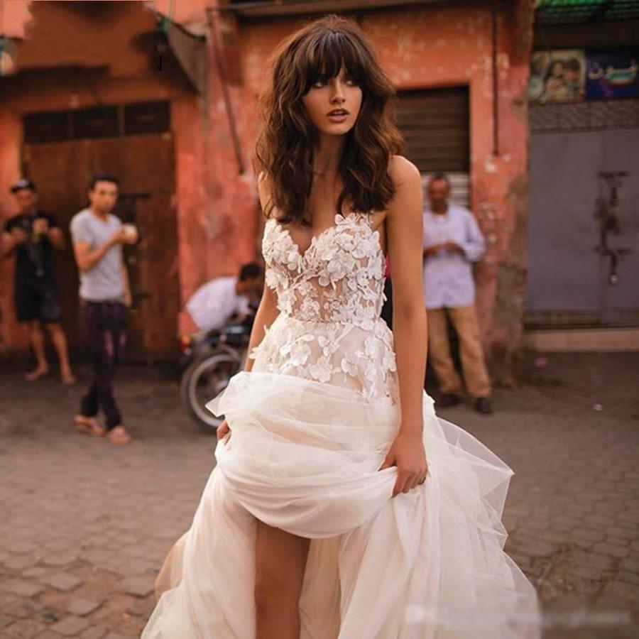 Светло шампанского богемное романтическое 3D Цветочное платье с аппликацией свадебное платье с бретельками из тюля модное платье принцессы