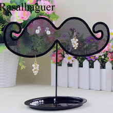 Hot Sale European Black Beard Iron Jewelry Rack Earrings Necklace Storage Rack Jewelry Display Props Pendant Jewellery Organizer(China)