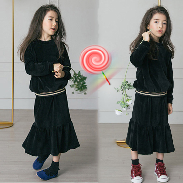 2017 winter new girl suit foreign fashion Mori Department of wood ear skirts with knit jacket two sets new fashion suspender with sleeveless shirt suit for girl