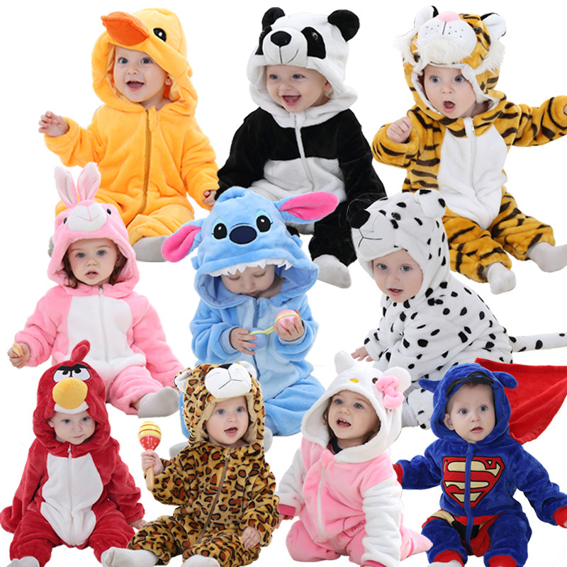 Blue Stitch baby rompers boy girl Hello kitty Cartoon Jumpsuit Pajamas warm Autumn Winter Children coral fleece cute animal