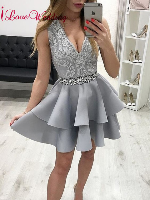 iLoveWedding 2019 New Fashion V Neck Lace Applique Waist Beaded Custom made Gray A Line Cocktail Party Dresses