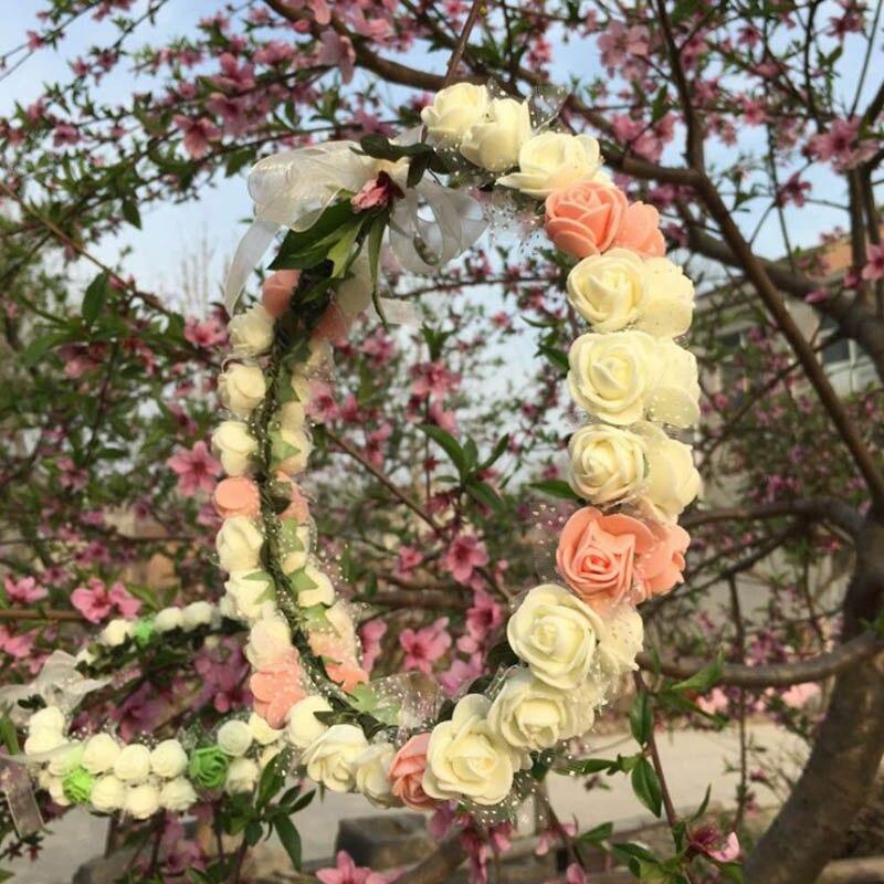 Free Size Ribbon Artificial Flower Wreath Hawaii Birthday Decoration Foam Rose Floristry