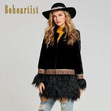 Bohoartist Для женщин зимняя куртка пальто лоскутное Вышивка кисточкой в богемном стиле народный обычай новые женские теплые harily мягкие Мех животных пальто