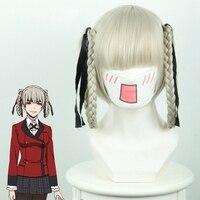 Kakegurui momobami Kirari Cosplay peluca anime japonés peluca corta recta Pelo sintético peluca para las mujeres Niñas partido del traje gris