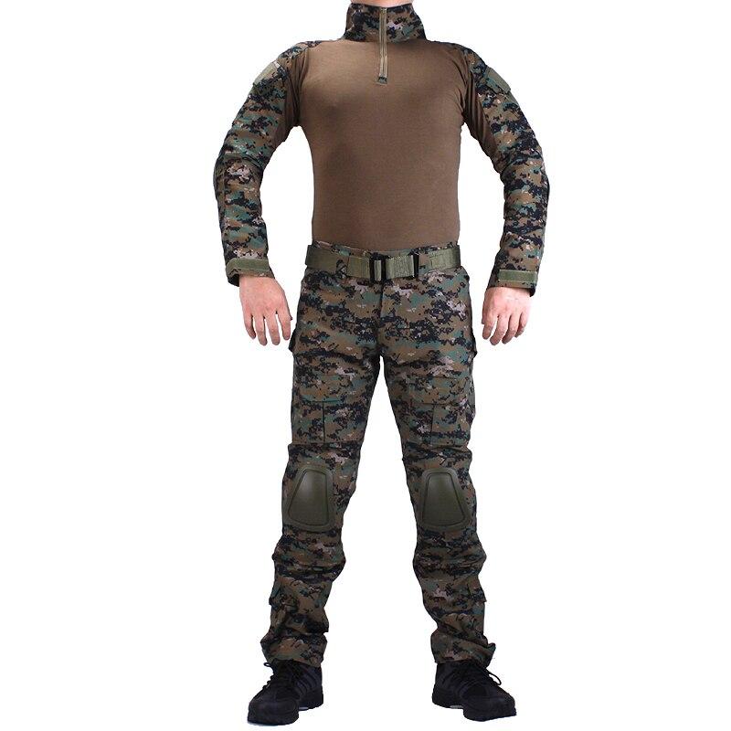 Camouflage BDU Jungle Digital Combat uniforms shirt with broek + elbow & knee pads militaire game cosplay uniform ghilliekostuum