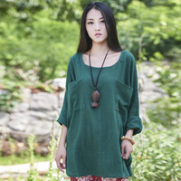 2015 Summer Style Women Long Sleeve Blouses Yellow Loose Plus Size Linen Shirt Brand Casual Blusa