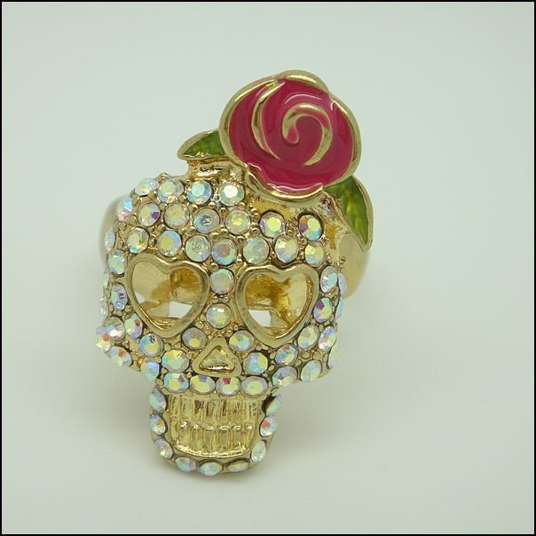 BJ  Fashion Ring With Colorful Rhinestone Free shipping Mixed Order --Skull Jewelry #NR159
