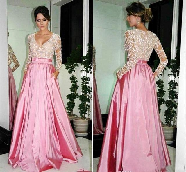 2015 largo atractivo color rosa De noche vestidos manga larga De ...