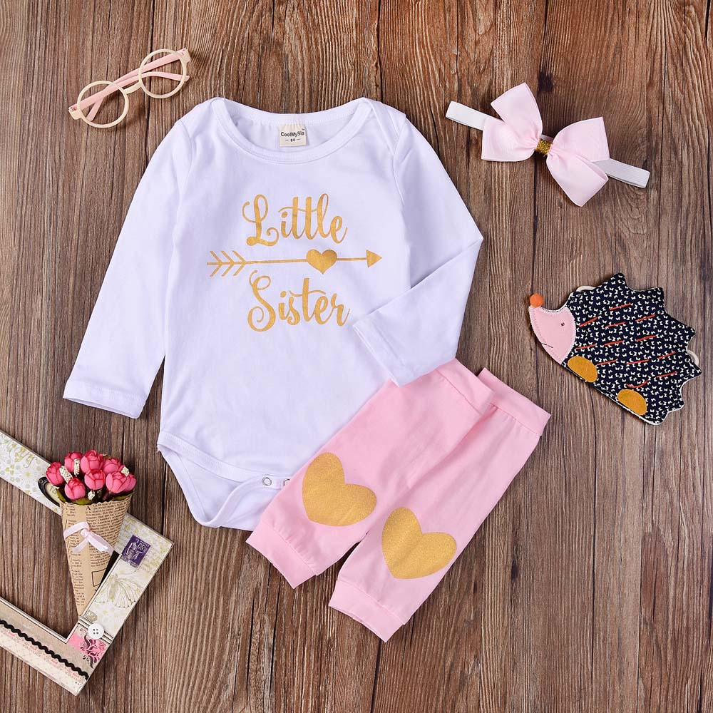 MUQGEW Tops Outfit Baby-Girls New-Fashion Letter Infant 3PCS Romper Legs Print Newborn