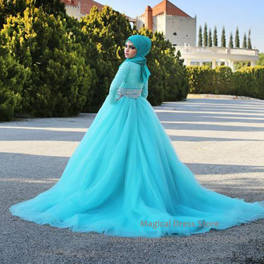 Wedding Turquoise Wedding Dresses popular turquoise bridal dresses buy cheap long sleeve muslim wedding dress with crystals 2016 ball gown tulle train lace bridal