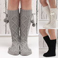 2017 New Winter Warm Long Leg Warmers Socks Soft Solid Knitting Socks with Balls Women Fashion Knee High Leg Socks Boot Cuffs