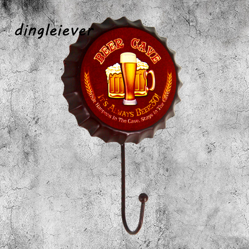 Beer cave man cave beer Shape Vintage Hook Wall Hanger Multi-use Wall Hook Coat & Hat Hanger Wall decor for pub har home BH05