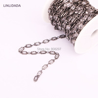High Quality 5 Meter Cubic Zirconia 4x6mm Rectangle Beaded Chain With Black Gold Brass Chains For