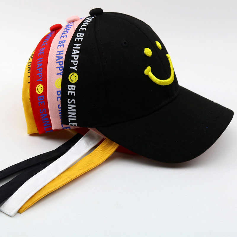 393e4217788 2018 New 2-8 Years Child Long Ribbon Baseball Cap Smiley Face Embroidery  Summer Kids